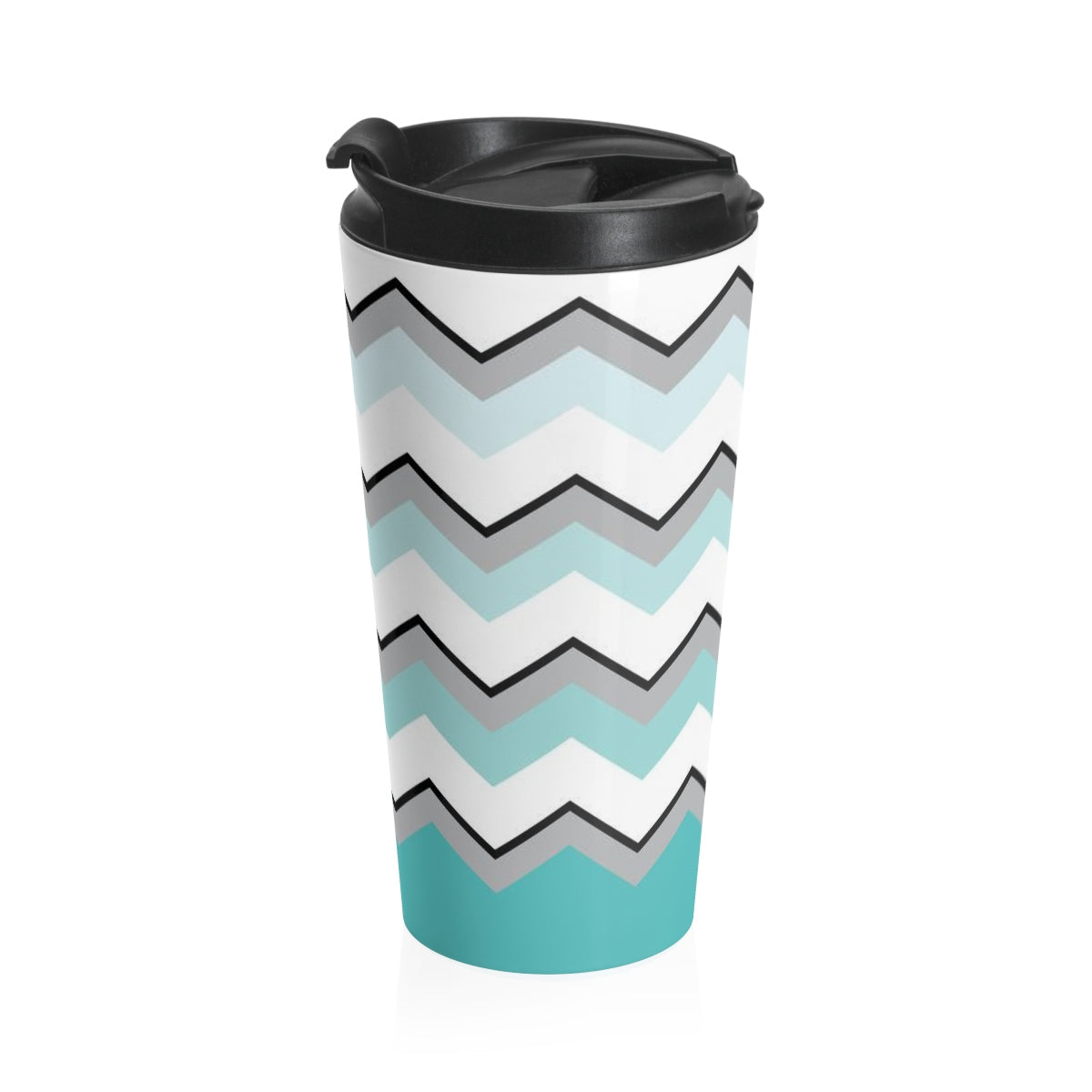 Ombre Teal Chevron Stainless Steel Travel Mug