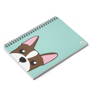 Brown Boston Terrier Paw Prints Spiral Notebook - Ruled Line