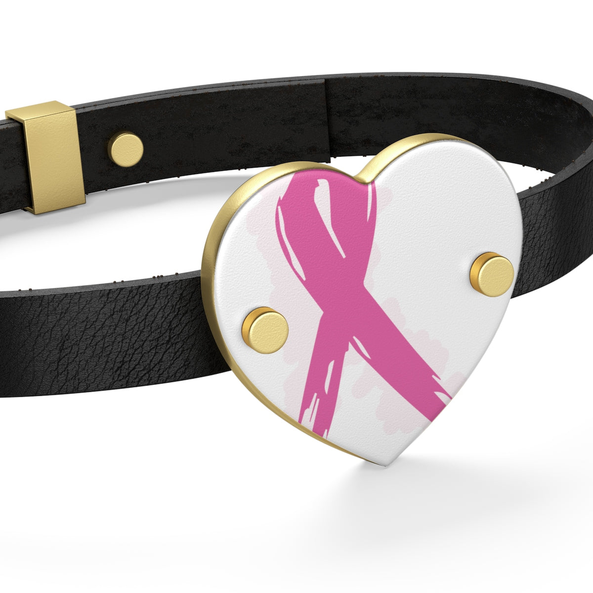 Breast Cancer Awareness Leather Bracelet