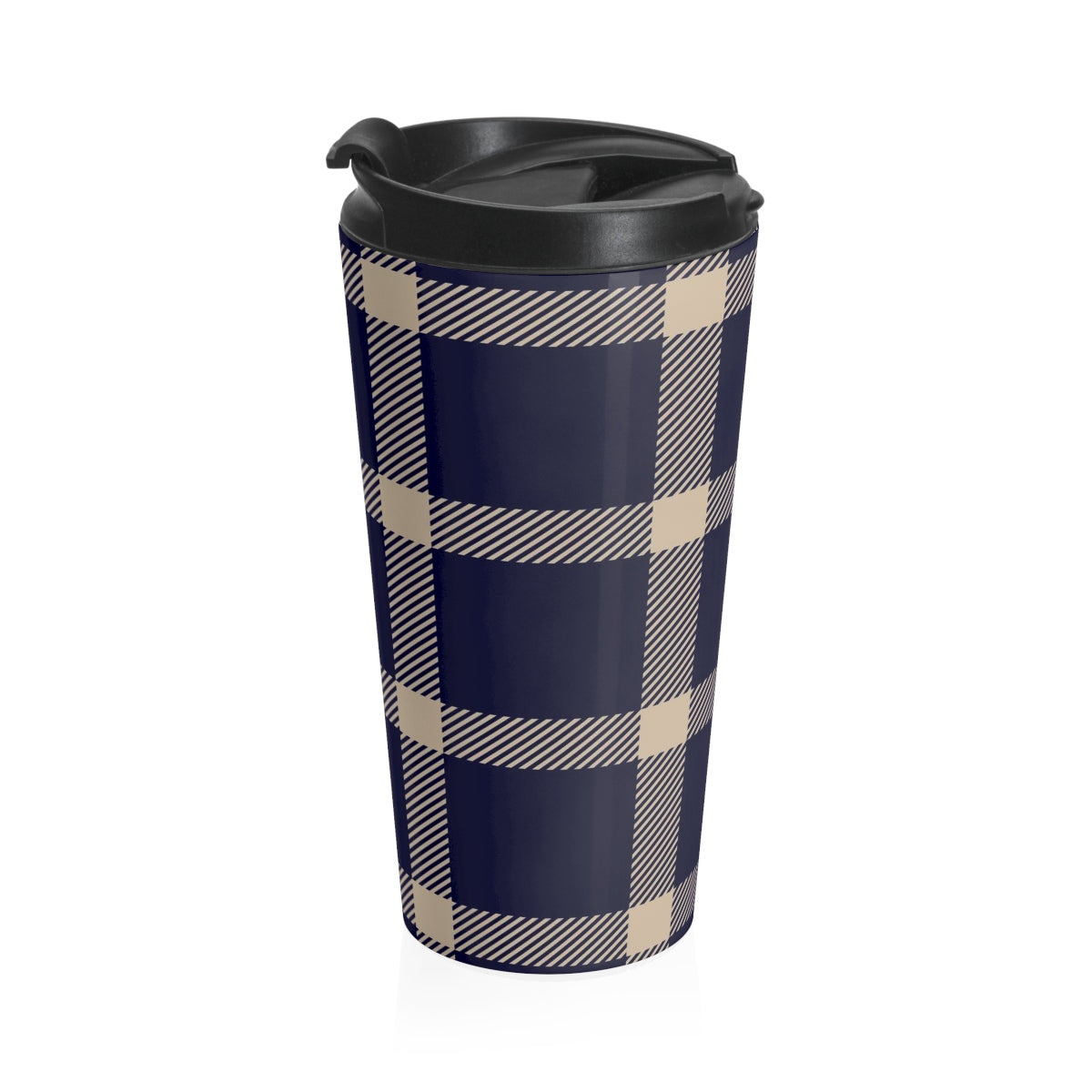 Holiday Blue Plaid Stainless Steel Travel Mug