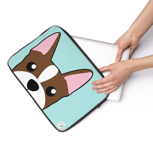 Brown Boston Terrier Paw Prints Blue Laptop Sleeve