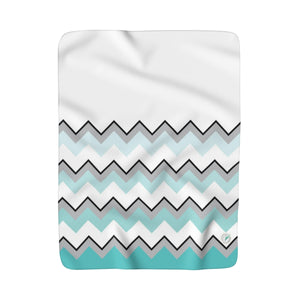 Ombre Teal Chevron Sherpa Fleece Blanket
