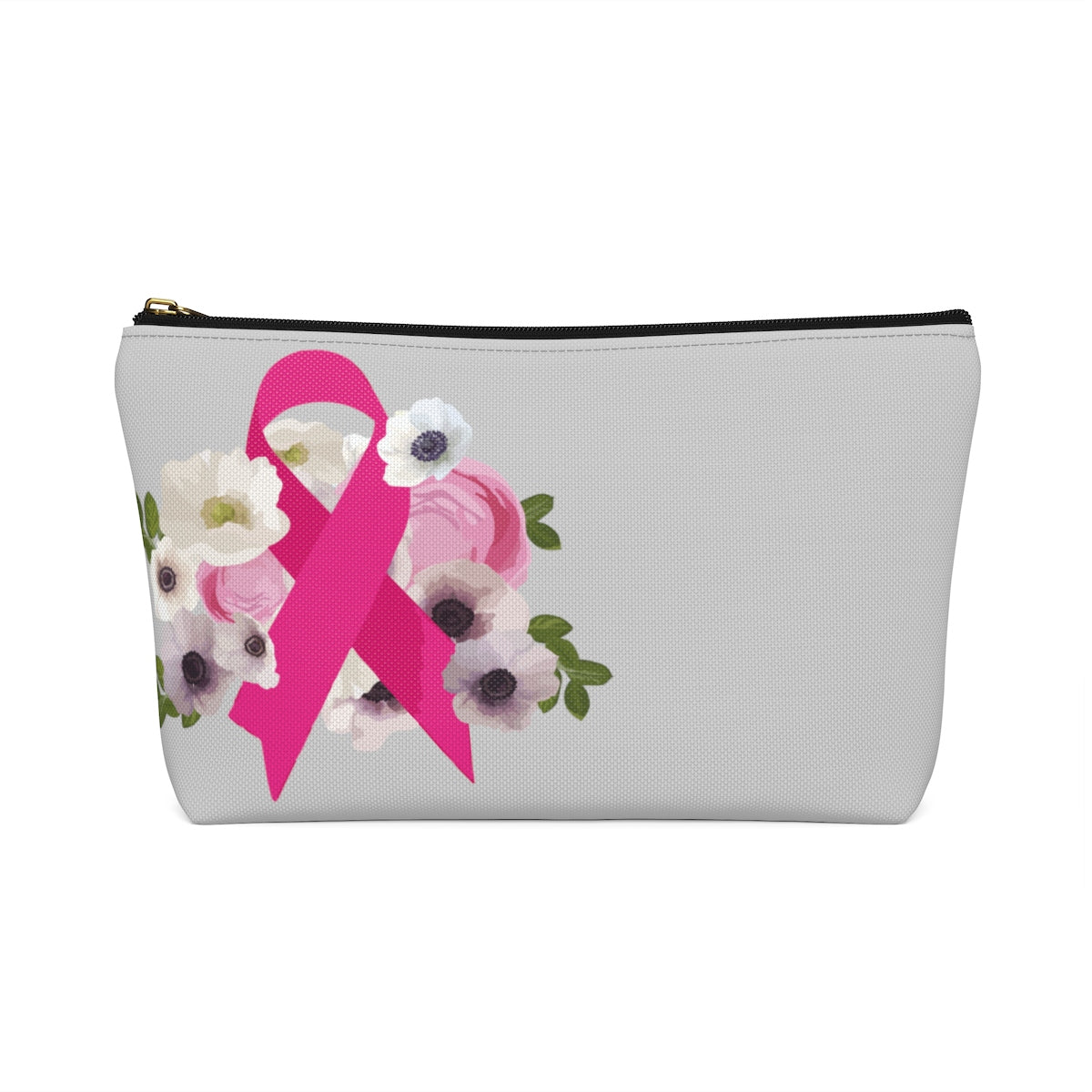 Floral Breast Cancer Ribbon Accessory Pouch w T-bottom