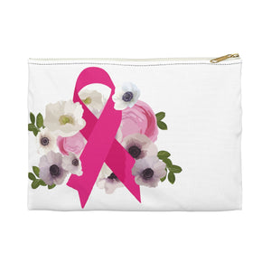 Floral Breast Cancer Accessory Pouch