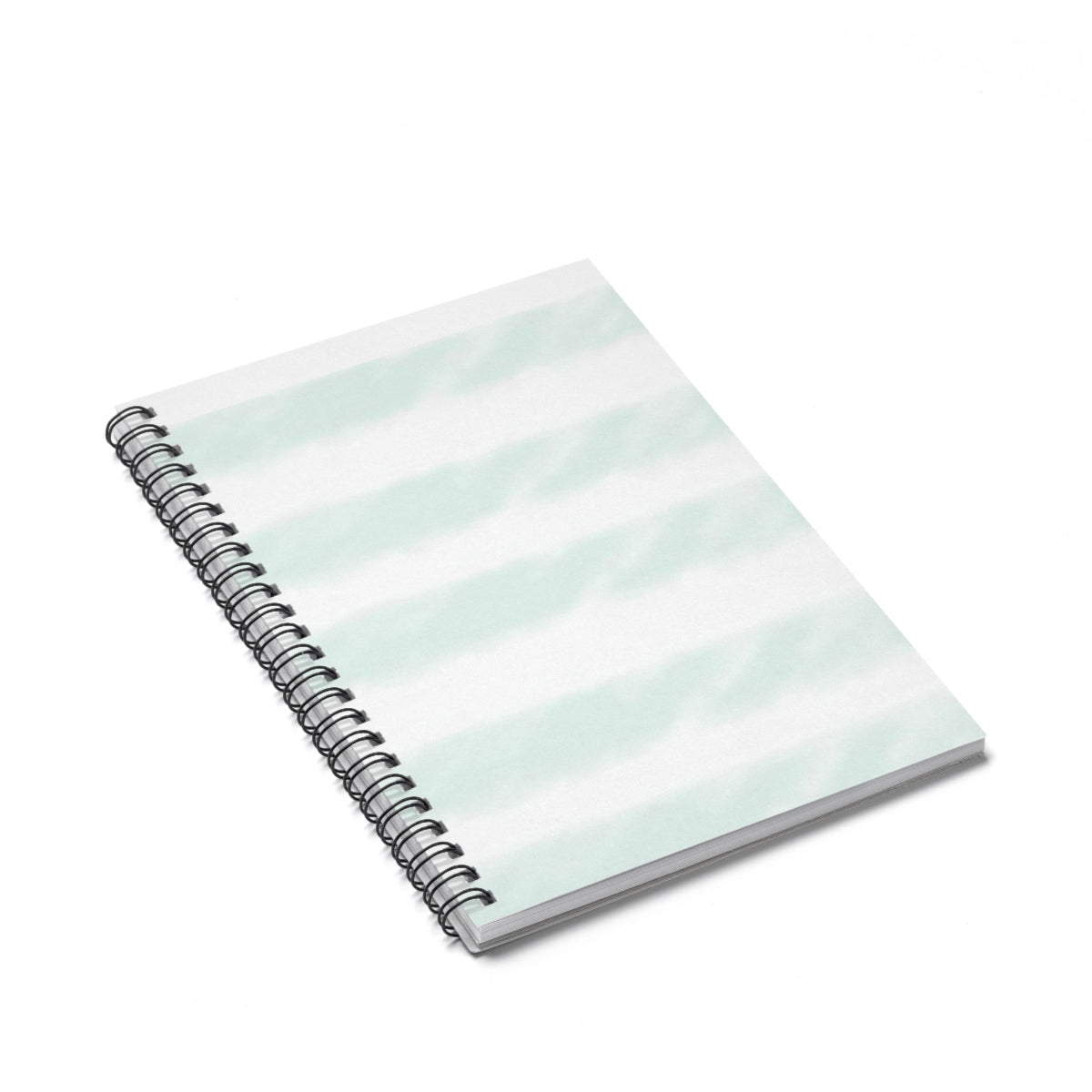 Mint Watercolor Stripe Spiral Notebook - Ruled Line
