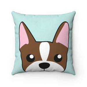 Paw Prints Brown Boston Terrier Square Pillow Case