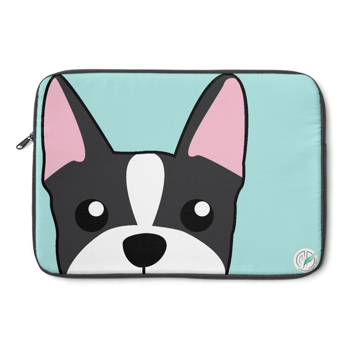 Boston Terrier Paw Prints Blue Laptop Sleeve