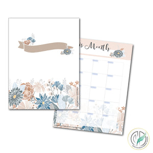 Natural Blooms 8.5x11 Printable Planner Set
