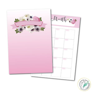 Pink Blooms 8.5x11 Printable Planner Set