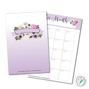 Purple Blooms A5 Printable Planner Set