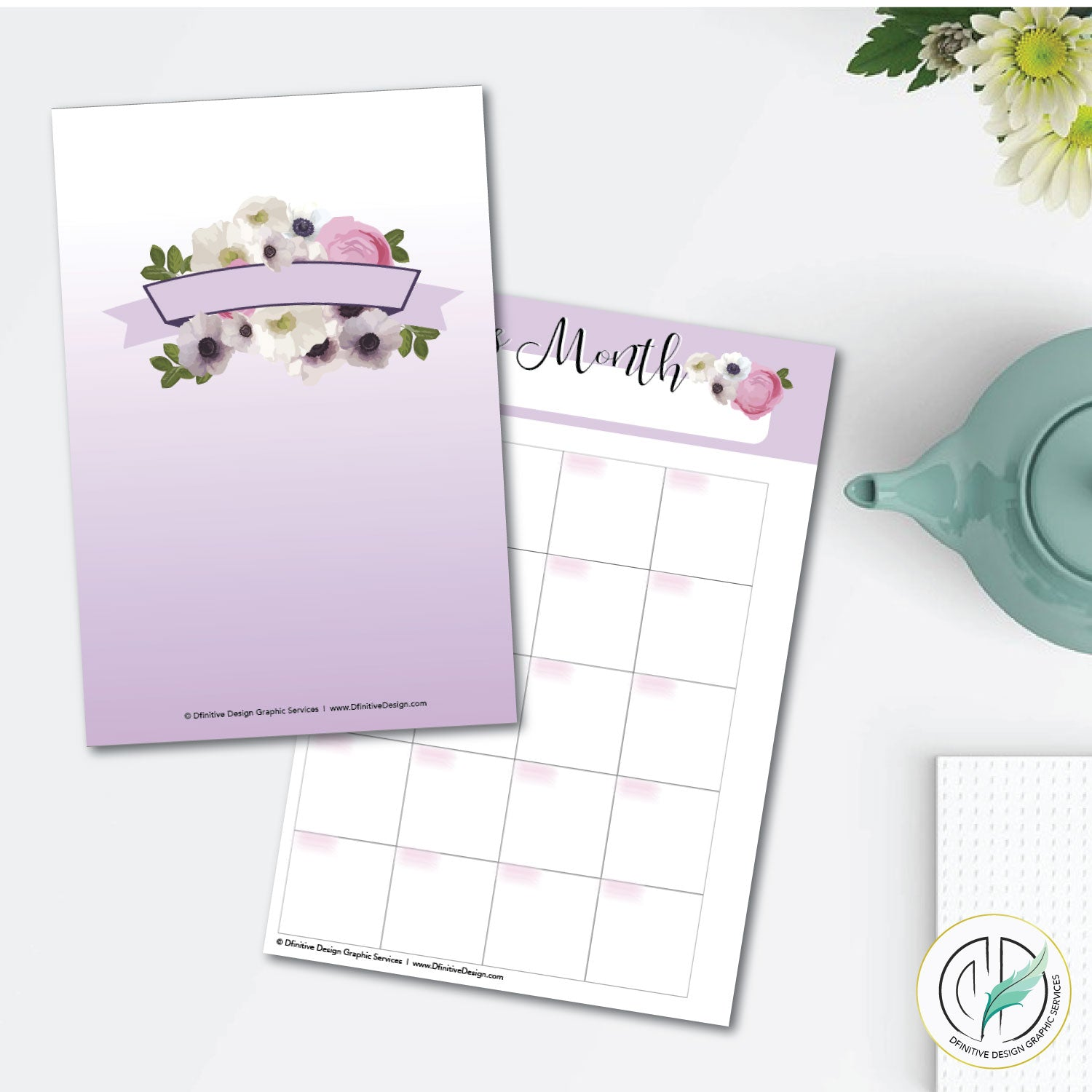 Purple Blooms 8.5x11 Printable Planner Set