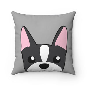 Paw Prints Boston Terrier Gray Pillow Case