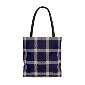 Holiday Blue Plaid Tote Bag