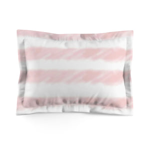Pink Watercolor Stripe Microfiber Pillow Sham