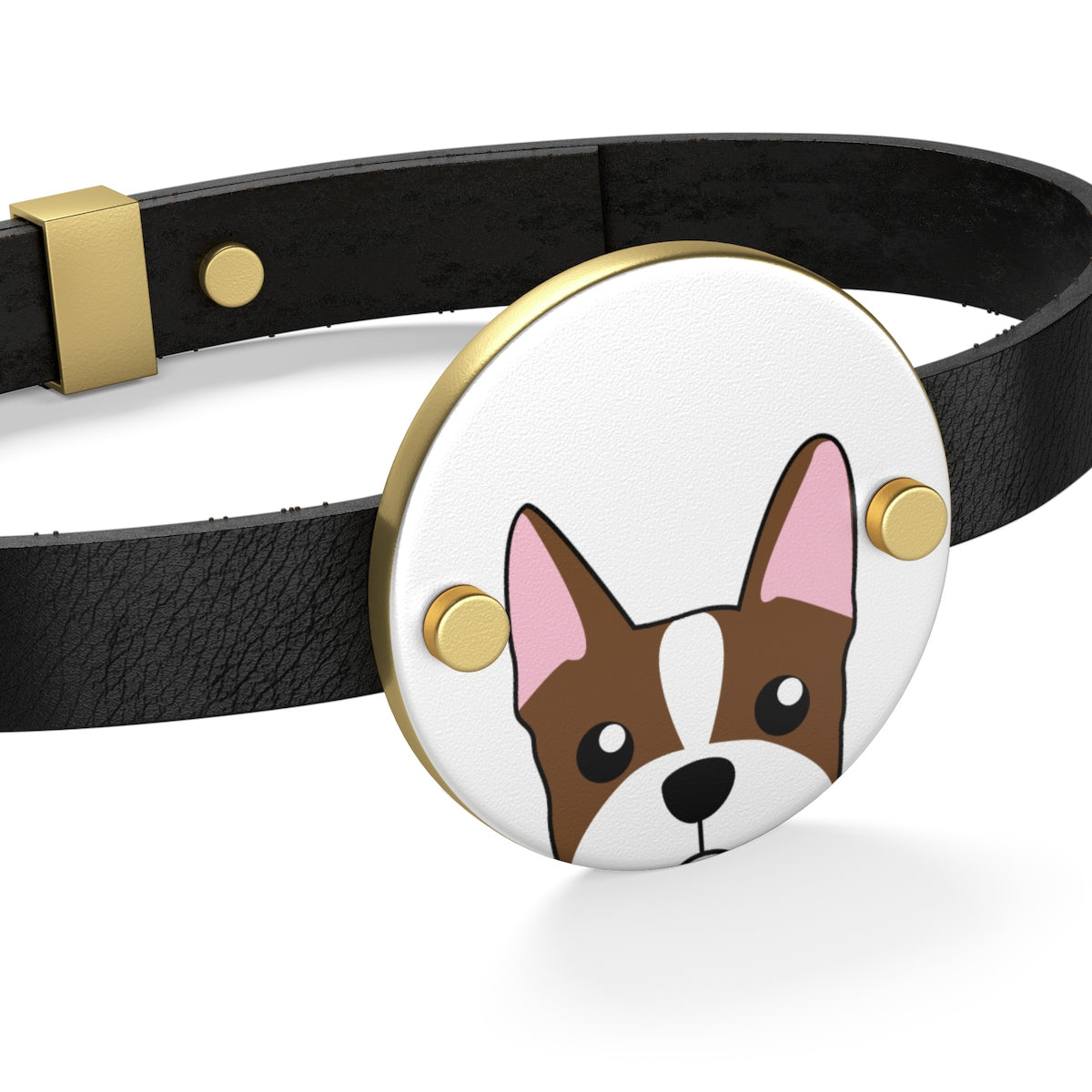Paw Prints Brown Boston Terrier Leather Bracelet