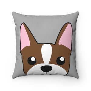 Paw Prints Brown Boston Terrier Gray Pillow Case