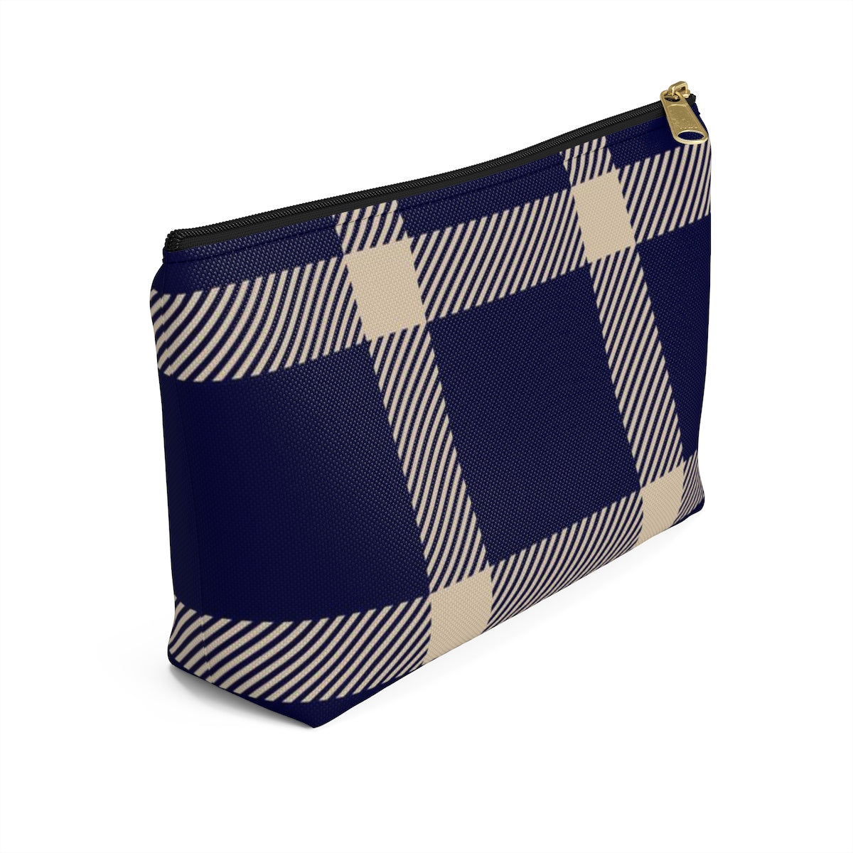 Holiday Blue Plaid Accessory Pouch w T-bottom