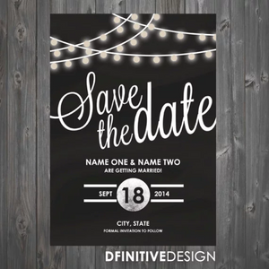 String Lights Save The Date / Announcement