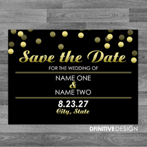Gold Confetti Save The Date / Announcement