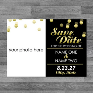Gold Confetti Photo Save The Date / Announcement