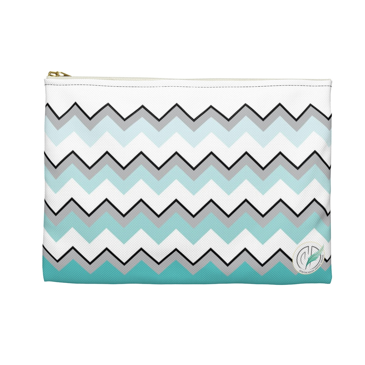 Ombre Teal Chevron Accessory Pouch