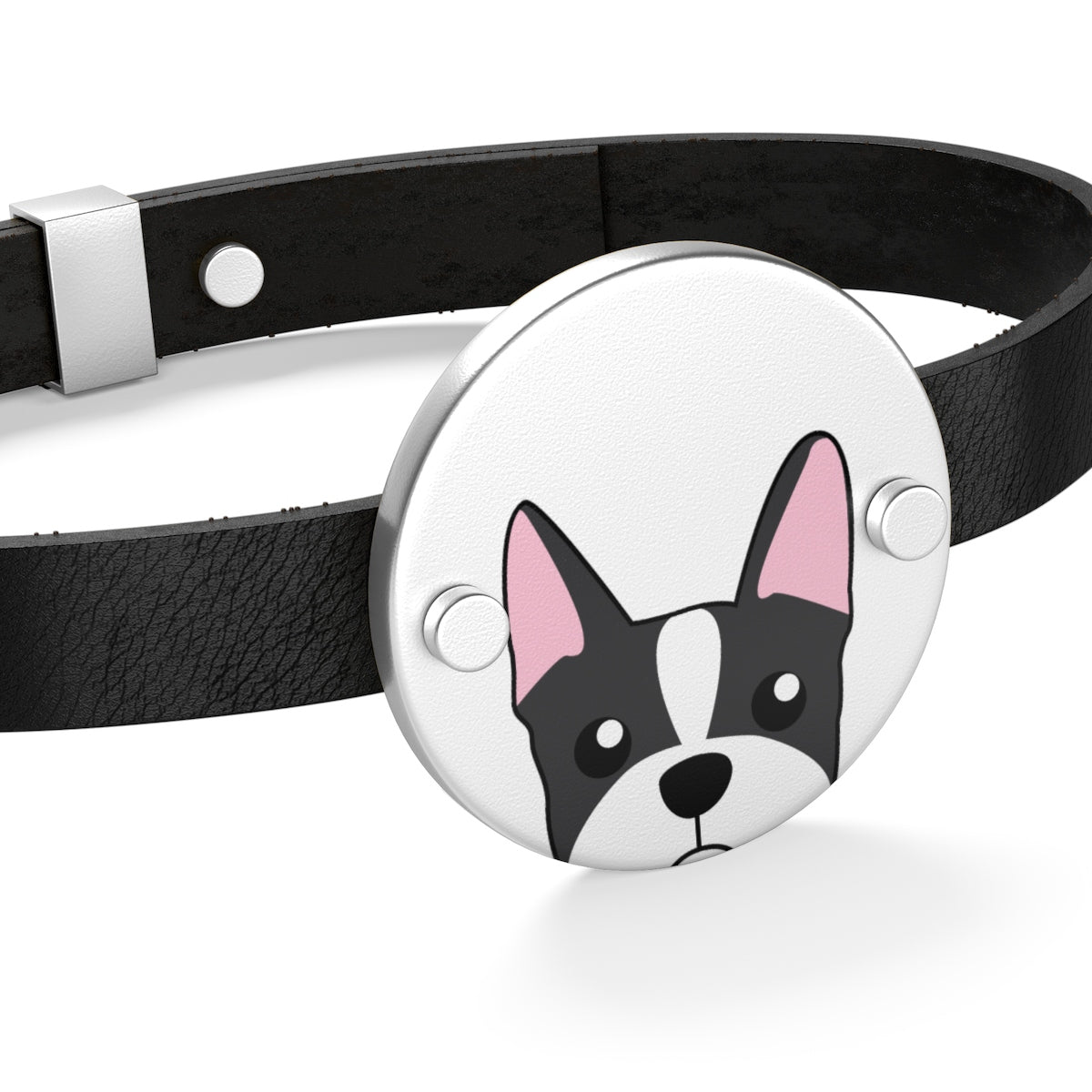 Paw Prints Boston Terrier Leather Bracelet