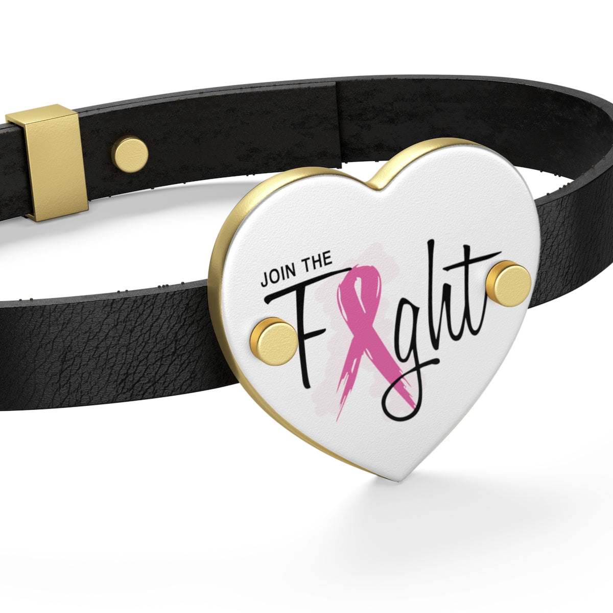 Join The Fight Breast Cancer Leather Bracelet