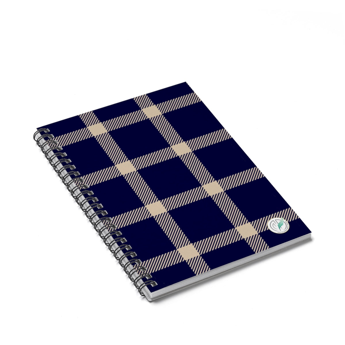 Holiday Blue Plaid Spiral Notebook - Ruled Line