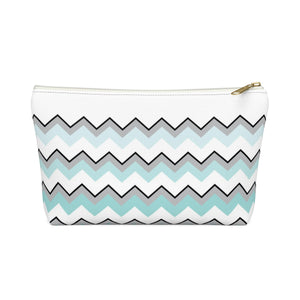 Ombre Teal Chevron Accessory Pouch w T-bottom