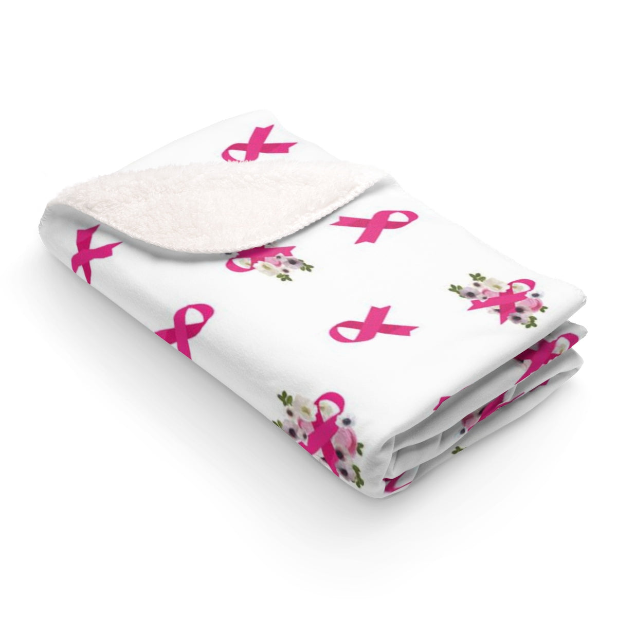 Floral Ribbons Breast Cancer Sherpa Fleece Blanket