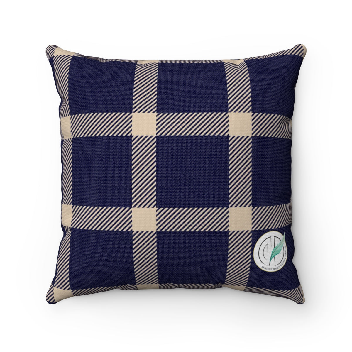 Holiday Blue Plaid Square Pillow