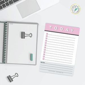 Pink Daily Checklist Printed Planner Notepad