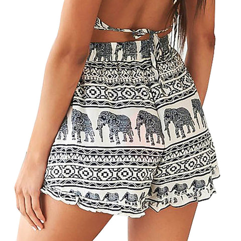 Boho High Waist Elastic Elephant Mini Shorts