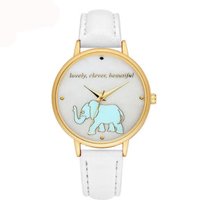 Women Fashion Faux Leather Quartz Light Blue Elephant Watches (white)