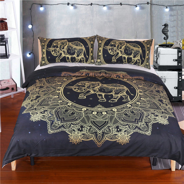 Black & Gold Elephant Duvet Cover w/ Pillowcase