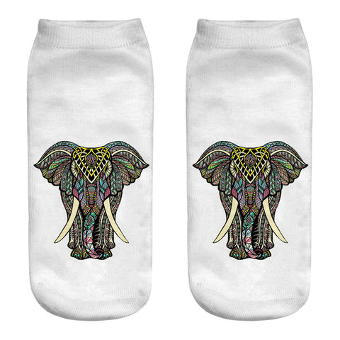 Cute 3D Art Elephant Ankle Socks