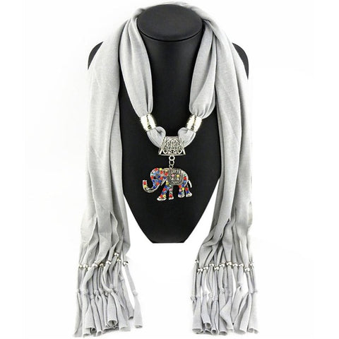 Elephant Pendant Scarf With Tassels (gray grey)