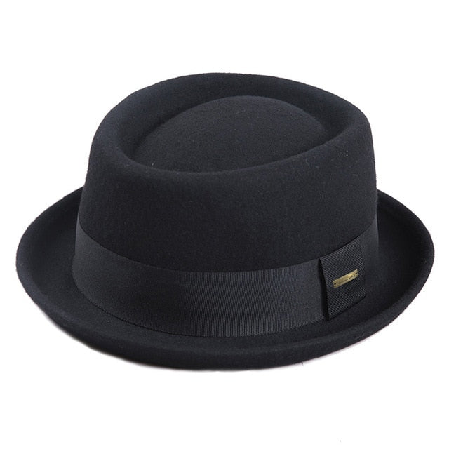 Sedancasesa 100% Australia Wool Men's Fedora Hat Pork Pie Hats for Classic Church Wool Felt Hat 2020 New Autumn Winter