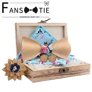 2020 Adjustable Maple Wooden Bow Tie Cotton Print Pocket Square Set For Mens Weddiing Novelty Bowtie Gravata And Wood Box  Gift
