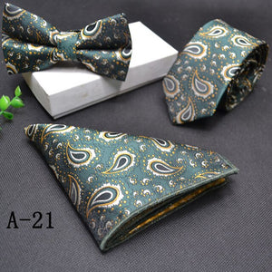 Fashion Mens Knit Ties  Bow Tie Pocketsquare 3pcs/set Ties for Men Wedding Party Gifts Handsome Tie Sets