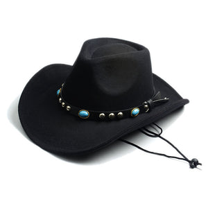 100% Wool Felt Sombrero Cap with Leather Band