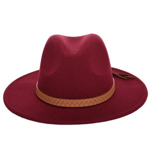 Classical Wide Brim Hat with Brown Leather Belt