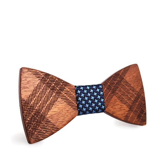 Trendy Plaid Wooden Bowtie