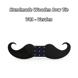 Moustache Shape Wooden Bowtie