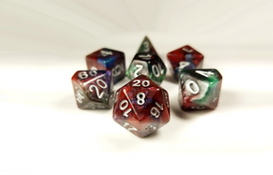 "D&D Dice Set / Red Green Blue ""Mirror Plane"" DnD dice set"