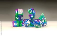 Load image into Gallery viewer, 11 piece D&D Dice Set: Green to Purple / Dungeons and Dragons dice set