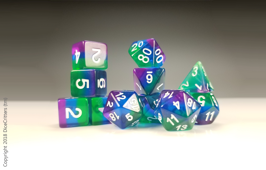 11 piece D&D Dice Set: Green to Purple / Dungeons and Dragons dice set