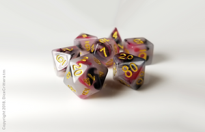 DnD Dice Set / Black Red Swirls D&D dice set