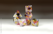 Load image into Gallery viewer, DnD Dice Set / Black Red Swirls D&D dice set
