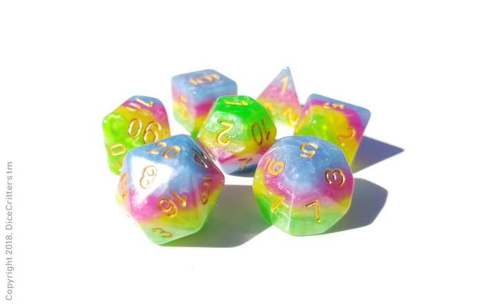DnD Dice set / Pastel Pearl Rainbow dice set with blue green / Tabletop RPG Polyhedral dice